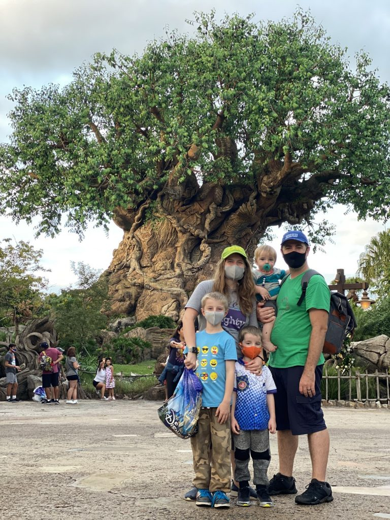 family in front of Animal Kingdom